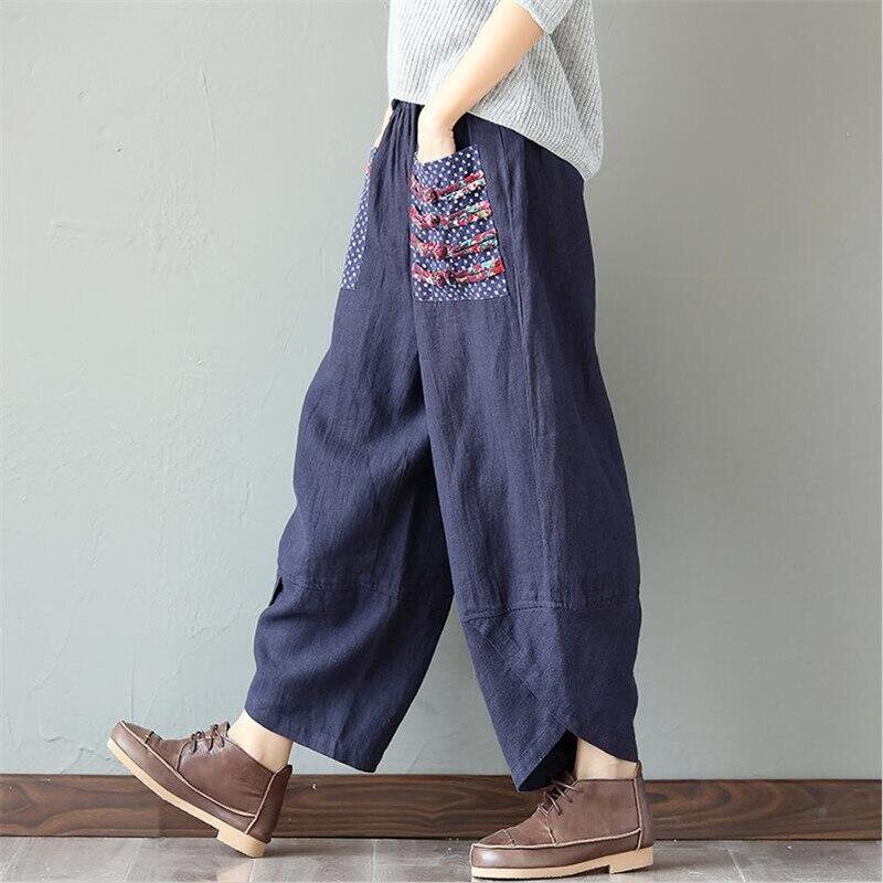 2019 Autumn Summer Woman Trousers Cotton Linen Loose Trousers   Wide     Leg     Pants   Elastic Waist Vintage Womens Casual Harem   Pants