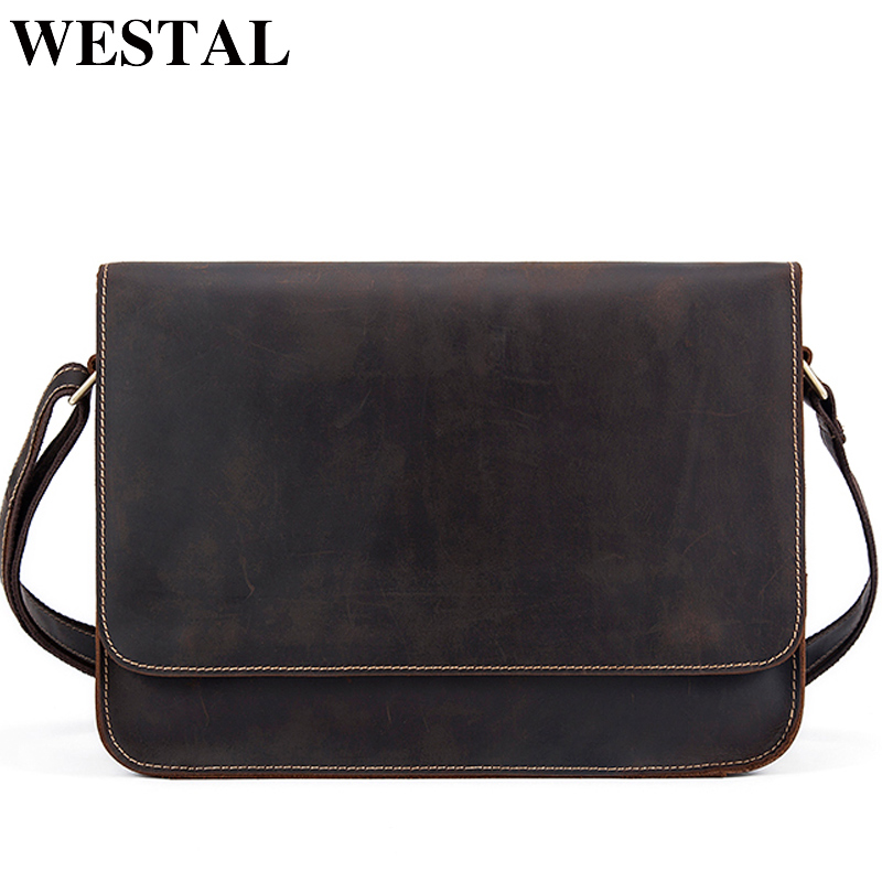WESTAL Clearance Sale Leather Men Briefcases Crazy Horse Leather Messenger Bags Business Briefcase Male Laptop Bags For Document