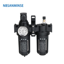 NBSANMINSE SFC200 1/4 3/8 1/2 Two Units Air Filter Regulator Lubricator Oil Water Air Separate FRL units стоимость