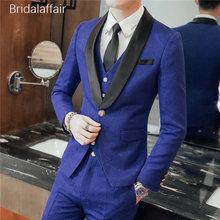 Maravilloso por encargo hombres traje conjunto moderno Blazer 3 unidades  flacos hombres trajes para la boda Prom azul (chaqueta . 8c38a9a50ef