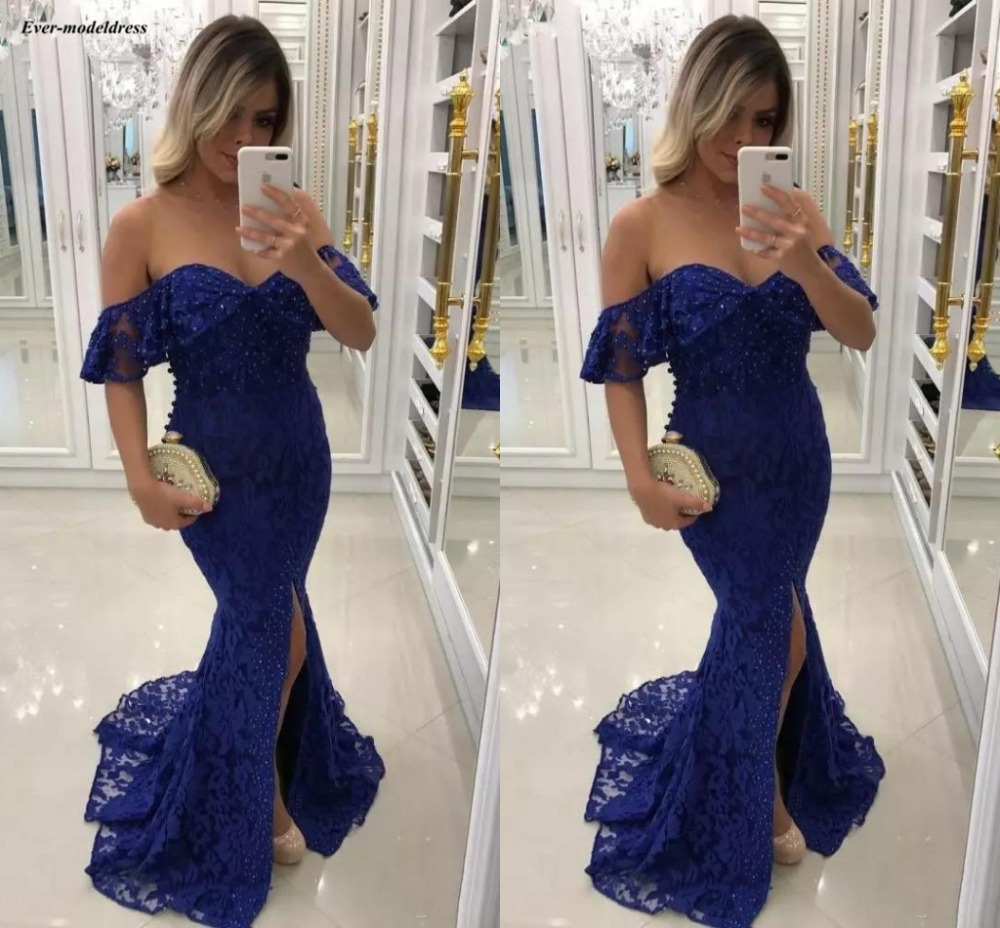 Chic Off The Shoulder Lace Mermaid   Prom     Dresses   Long Sequined Royal Blue Celebrity Party Gowns With Slit 2019 vestidos de baile