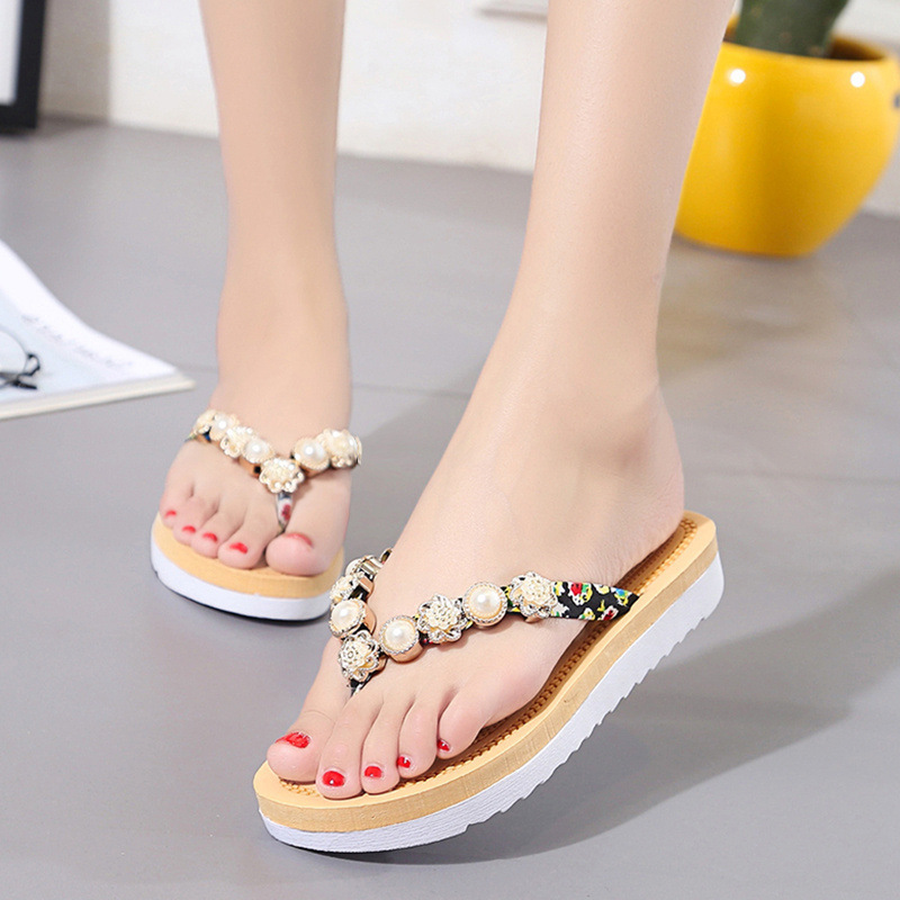 Dwayne Women Slippers Summer Beach Slippers Flip Flops Sandals Women Pearl Fashion Slippers Ladies Flats Shoes Free shipping free shipping fashion 2018 new summer women shoes casual sandals genuine leather flats sandals beach slippers soft comfortable
