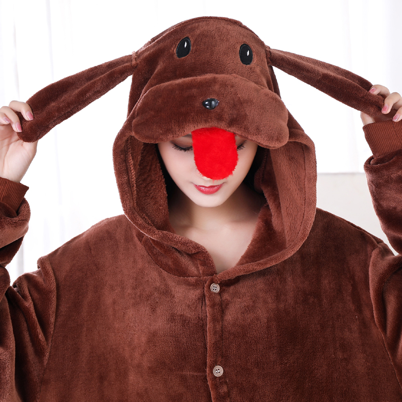 New Brown Teddy Dog Kigurumi Thick Flannel Animal One-Piece Pajamas For Onesie For Adults Cosplay Party Costume Pyjamas Suit (5)