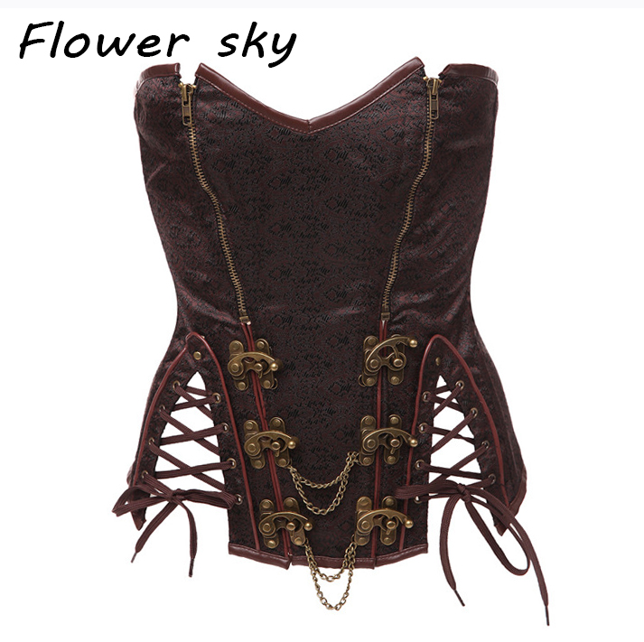 Women's Brocade Steampunk Overbust Corset Gothic bustier Corset with Buckles and zipper Hot shapers Sexy Corselet