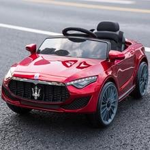 Специальная цена Детский Электрический двойной привод автомобиля четырехколесный пульт дистанционного управления может сидеть автомобиль мальчики девочки Детские качающаяся игрушка автомобиль