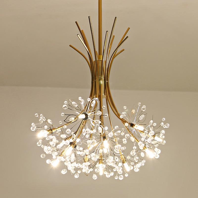Modern Art Deco LED Crystal Hardware Chandelier Dandelion Golden Hanging Lamps Decorative Light Fixture Lighting Led
