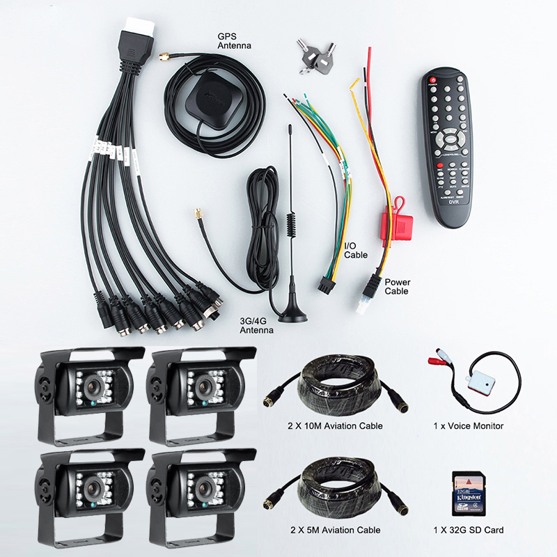 4PCS Outdoor Waterproof AHD 2.0MP Camera+4CH 3G GPS CCTV Remote Real Time Video 1080 AHD Mobile Dvr Kits For Bus Train Steamer