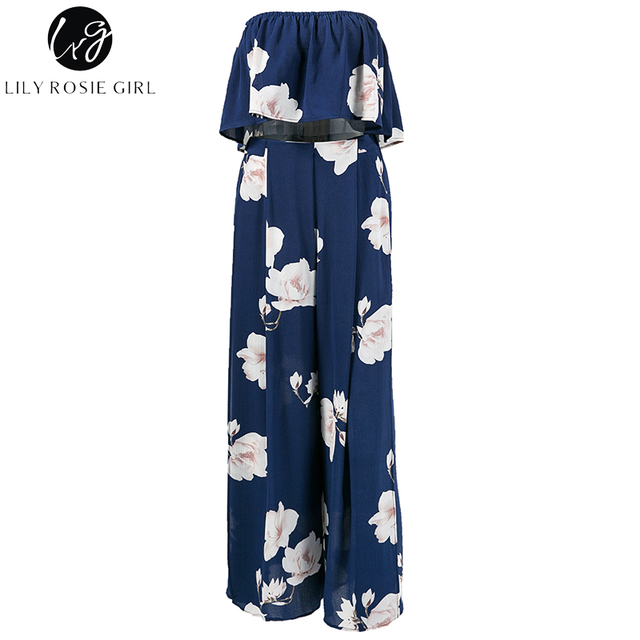 Lliy Rosie Girl Navy Blue Floral Two Piece Jumpsuits Off Shoulder Boho Summer Beach Sexy Long Rompers Playsuits Backless Overall
