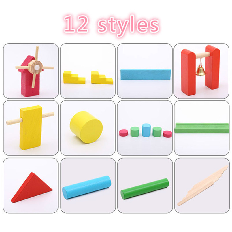 Деревянные цветные домино аксессуары для настольной игры домино блоки Радужный пазл домино Монтессори Развивающие игрушки для мальчиков - Цвет: 12 styles