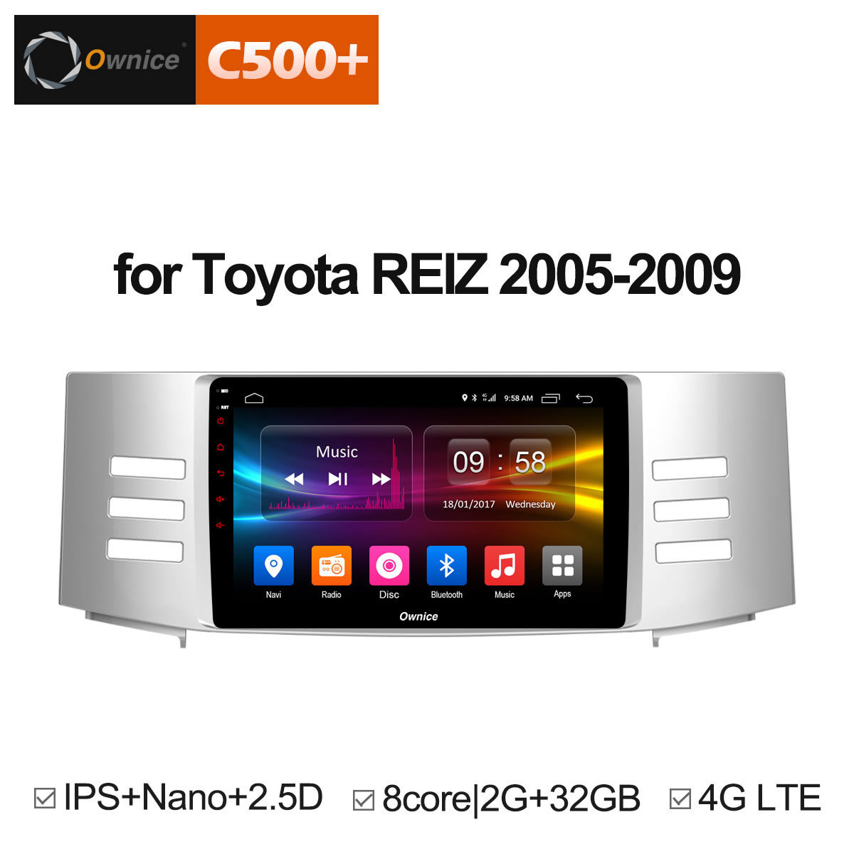Ownice C500+ G10 9 Octa 8 Core Android 8.1 car radio player GPS Navi for Toyota Reiz Mark X 2005 2006 2007 2008 2009 DVD 4G LTE ownice c500 4g sim lte octa 8 core android 6 0 for kia ceed 2013 2015 car dvd player gps navi radio wifi 4g bt 2gb ram 32g rom