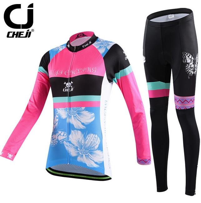 CHEJI Team Breathable Cycling Bike Women's Long Jersey Pants Yellow Butterfly цены онлайн