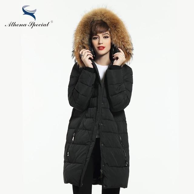 Афина специальные Новинка 2017 года Для женщин зимнее пальто теплая зимняя Толстая парка с капюшоном Для женщин S био Пуховики и парки для мужчин женский пальто Высокое качество