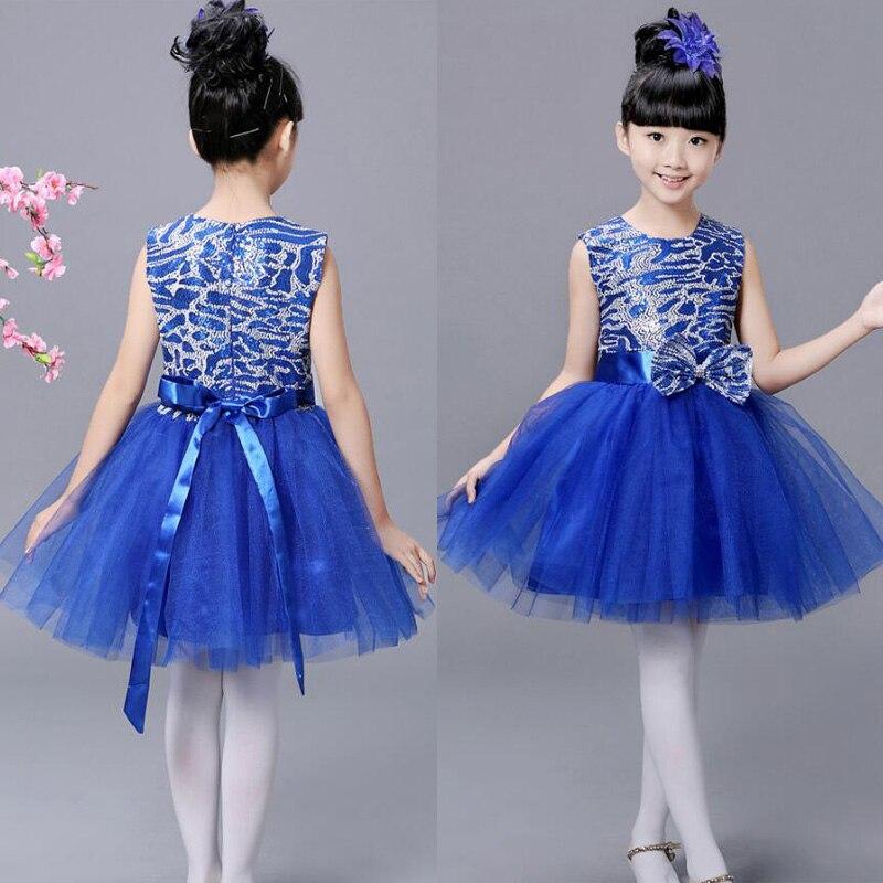Детская современная одежда для балета; Одежда для танцев; Одежда для девочек в стиле хип-хоп; вечерние костюмы для бальных танцев; одежда для детей - Цвет: Королевский синий