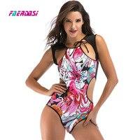 Faerdasi Floral Print Swimsuit Women One Piece Swimwear Retro Vintage Bathing Suit High Cut Flower Swim