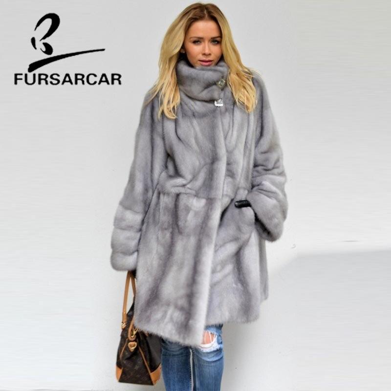 FURSARCAR 2018 Nouveau Style Réel De Fourrure De Vison Manteau Femmes 100% Naturel Vison Manteaux Avec Col De Fourrure Hiver Femme Fourrure De Vison manteau