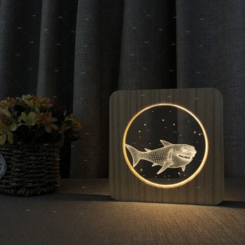 The sharks shapes Wooden Acrylic light creative gift ideal to friend lovers lovely decoration for sweet home