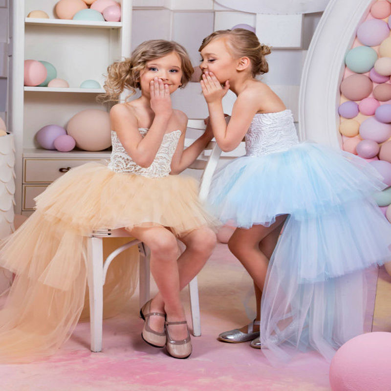 New Pretty Hot Sale Flower Girl Dress Lace Tulle High-low Kids Dress Lace Tulle Custom Made First Communion Gowns Vestidos Longo