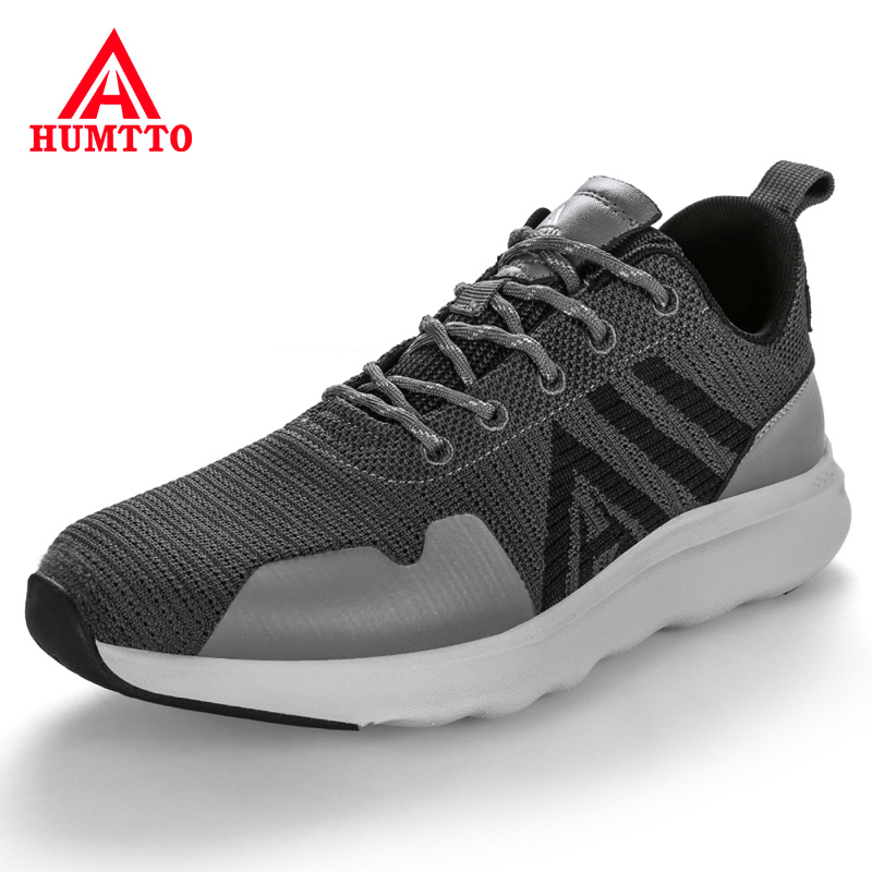 Buy HUMTTO Brand Designer Man Sneakers Breathable Flyknit Men Shoes Hot Sale Lace-up Anti-Odor Light Trainers Mens Shoes Casual