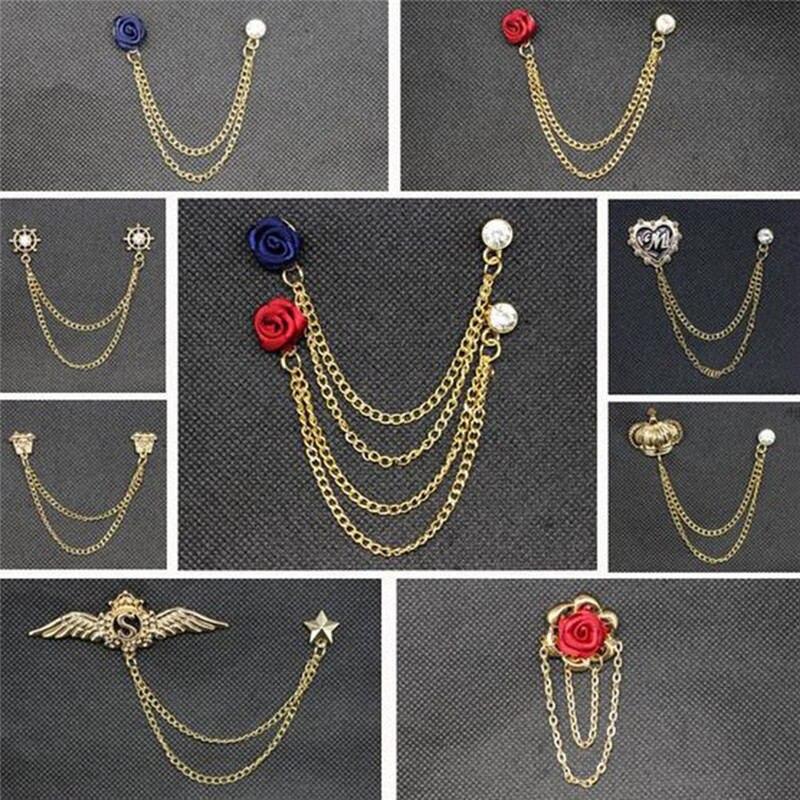 Vintage Multi Design Men S Rhinestone Gold Tie Tack Chain
