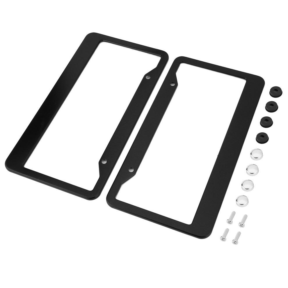 2x Aluminum Alloy Car License Plate Frame Holder Twill Tag Cover With Screw Caps