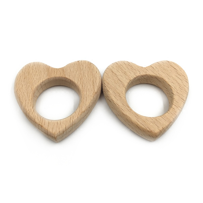 Beech Wooden Love-Heart Natural Handmade Wooden Teether DIY Wood Personalized Pendent Eco-Friendly Safe Baby Teether Toys