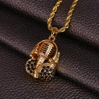 Headphones Microphone Shape Hip Hop Pendant AAA Cubic Zirconia Ice Out Hip Hop Jewelry Necklace