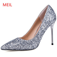 MEIL womens10CM high heels 2018 pumps women party wedding shoes stiletto heels women's dress shoes salto alto sapatos mulher