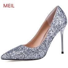 MEIL womens10CM high heels 2018 pumps women party wedding shoes stiletto heels women's dress shoes salto alto sapatos mulher