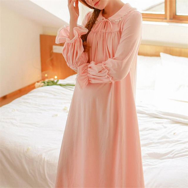 Autumn Princess Nightgowns Women Sleeping Dress Long White Cotton Sleepwear Lace Vintage Sweet Comfortable Pink Nightdress #LL27