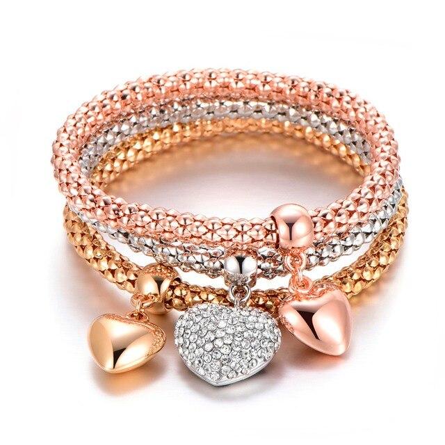 3Pcs Tree of Life Bracelet Popcorn Owl Heart Anchor Musical Note Charm Bracelets For Women Pulseria Feminina Boy & Girl Jewelry 2