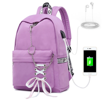 New USB Charge Women Backpack Fashion Letters Print School Bag Teenager Girls Ribbons bolsos mujer de marca famosa 2019