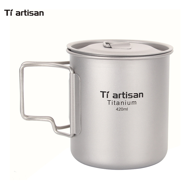 Tiartisan Coffee Mugs Ultralight Metal Milk Titanium Cup Mug Handgrip Drink ware 420ml with Cover For Home Outdoor Tea Mugs