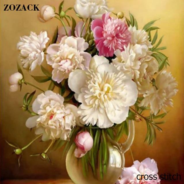 Zozack 70*80 см рукоделие, DMC DIY крестиком, полный Наборы для вышивания, цветы ваза структуры китайского вышивка крестиком напечатаны на канва