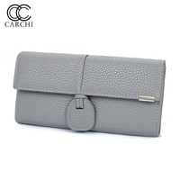 CARCHI High Capacity Fashion Women Wallets Long Dull Polish Retro PU Leather Wallet Female Cell Phone