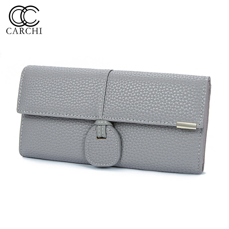 CARCHI High Capacity Fashion Women Wallets Long Dull Polish Retro PU Leather Wallet Female Cell