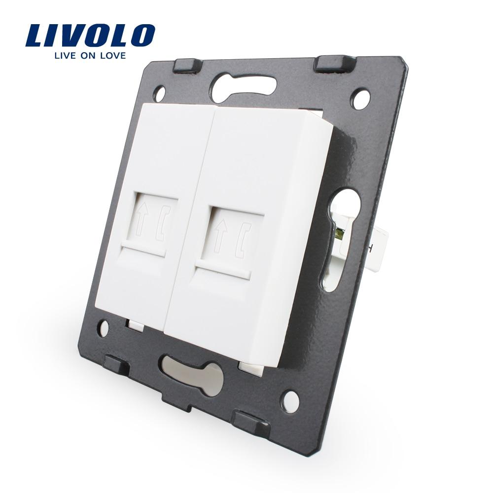 Fabrication Livolo, Prise Accessoire, La Base De 2 Gangs Téléphone Socket/Sortie VL-C7-2T-11, Sans adaptateur Enfichable
