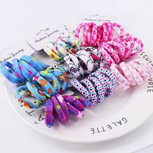 6PCS/Lot Girls Cute Color Hair Band Pink Print Dot Lovely Elastic Headband Good Quality Hair Holder Accessories Tie Gum(China)