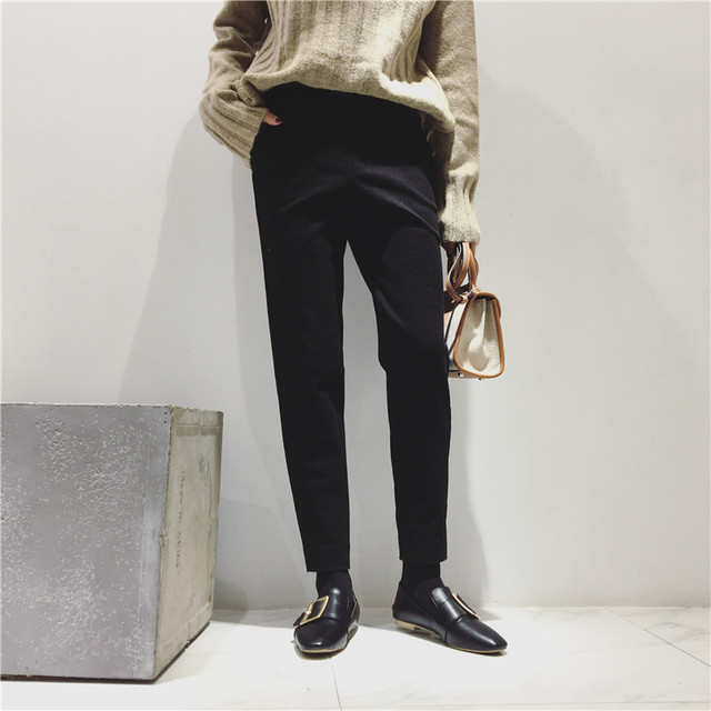 H.SA New Brand Women Winter Pants Mid Waist Woolen Radish pants Fashion Women Winter Ninth Pants Pocket Black Harem Pants