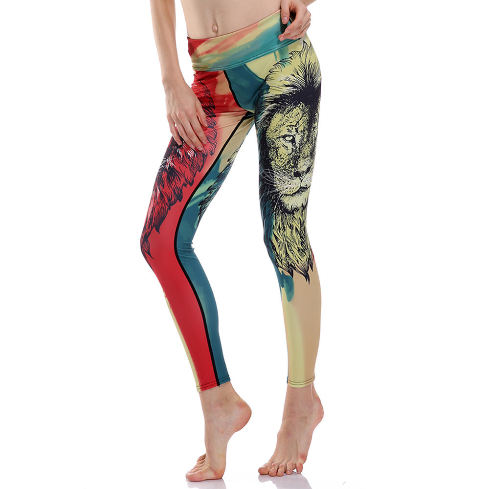 Fitness Leggings South Africa: Women African Lion Print Fitness Quick Dry Exercise