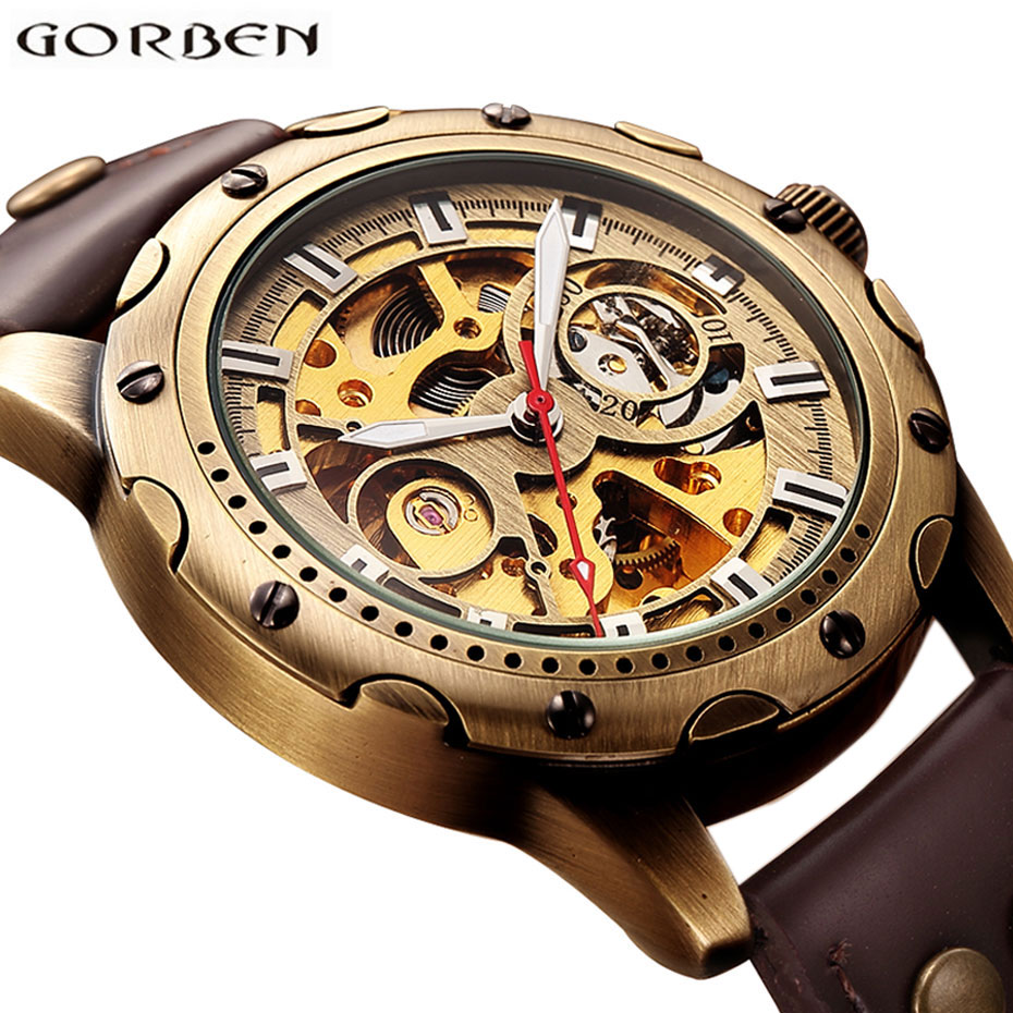 Retro Bronze Bezel Skeleton Steampunk Automatic Watches Mens Sports Clock Luxury Top Brand Vintage Leather Mechanical Wristwatch vintage bronze men wristwatch skeleton clock male leather strap antique steampunk casual automatic skeleton mechanical watches