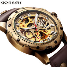 Retro Bronze Bezel Skeleton Steampunk Automatic Watches Mens Sports Clock Luxury Top Brand Vintage Leather Mechanical Wristwatch