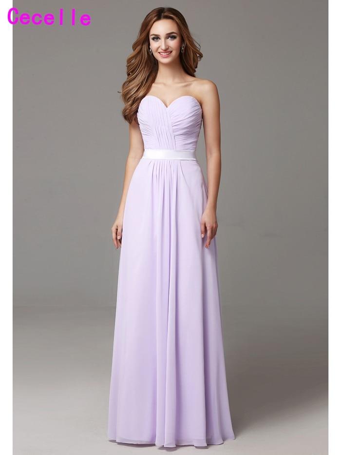 f1e8c5759fa85 2019 Lilac Beach Long Bridesmaid Dresses Floor Length Sweetheart Pleats  Chiffon Floor Length Formal ...