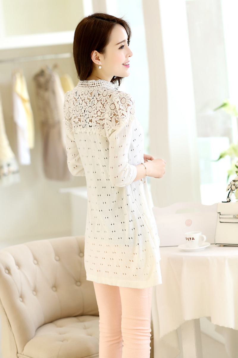Spring Summer Style Casual Long Cardigan Women Openwork Lace ...