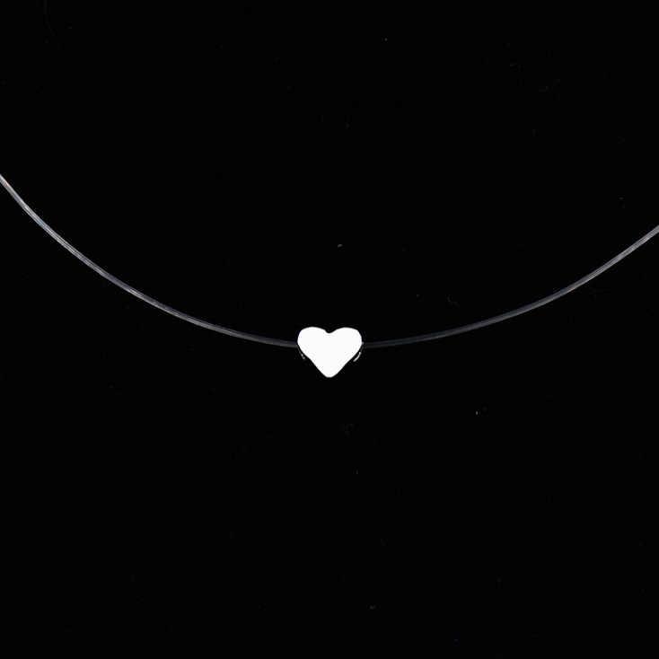 2019 kobieta New Heart Star naszyjnik meteoryt wisiorek przezroczysta żyłka wędkarska niewidoczne kobiety cyrkon wisiorki naszyjnik biżuteria