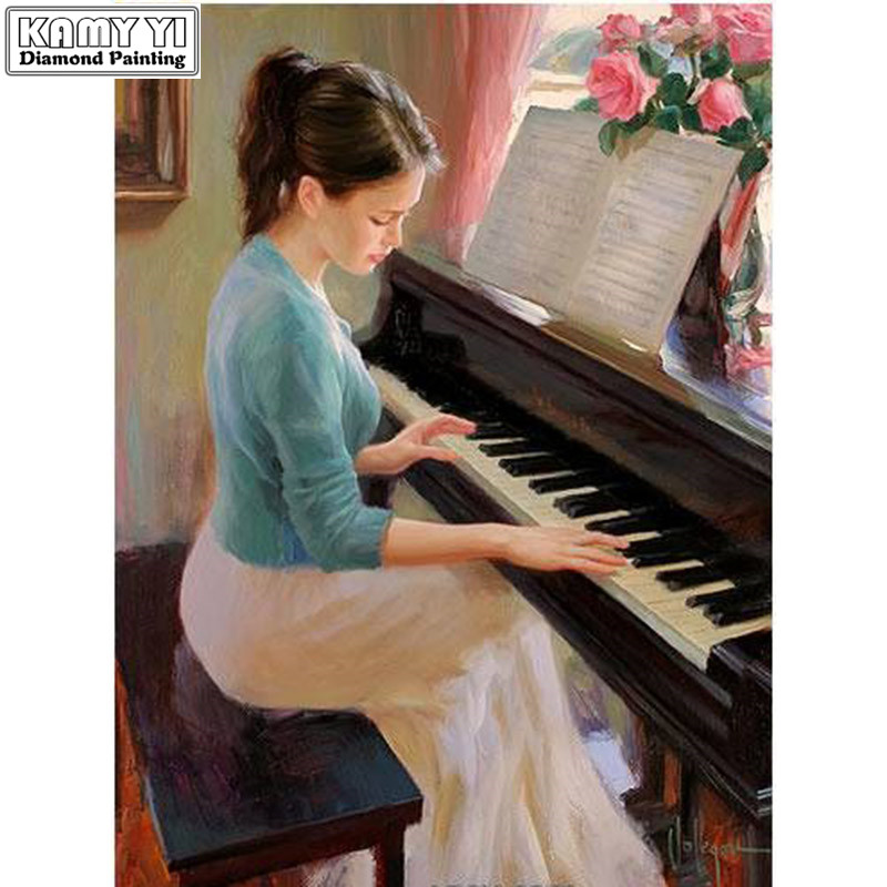 Beautiful Embroidery Package Hot Sell Best Quality Cross Stitch Kits Play Piano Girl Free Shipping Electronic Components & Supplies