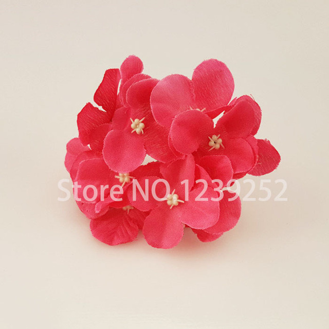 NEW 50 Pcs/Lot  Artificial Hydrangea Silk Flowers Heads Decoration for Wedding Party Banquet Home Decoration Fake Flowers 4