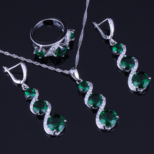 Delicate Round Green Cubic Zirconia White CZ 925 Sterling Silver Jewelry Sets For Women Earrings Pendant Chain Ring V0033 pair of delicate silver stick chain earrings for women