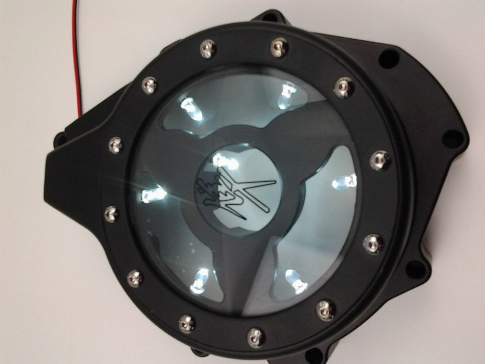 Motorcycle parts white LED see through Engine Stator Cover fit for Suzuki GSX1300R Hayabusa 99-13 BlacK motorcycle parts billet engine stator cover see through for 1999 2015 suzuki hayabusa gsx1300r