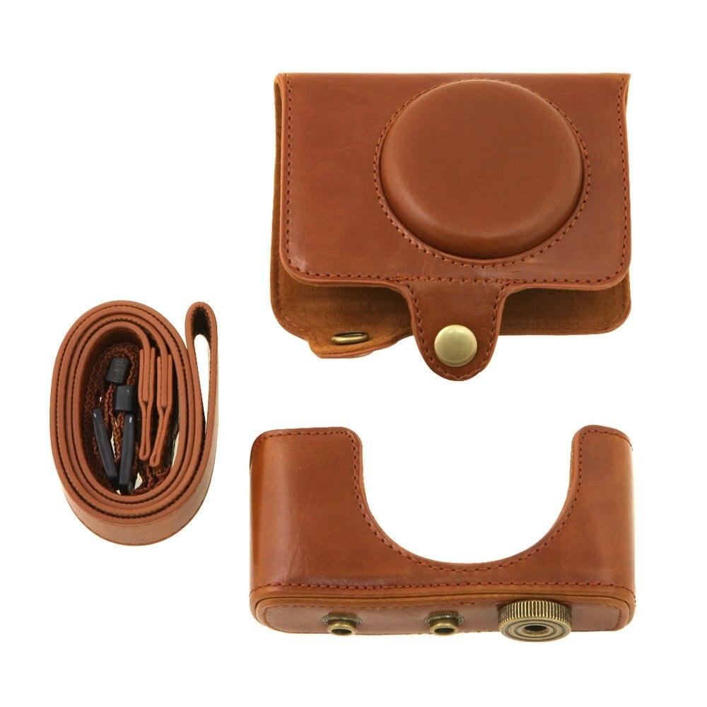 ETC para Fuji xq1 cámara digital pu Funda de cuero con cinturón de hombro  (marrón) 971e8b5223b