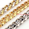"New Cool mens Jewelry 15mm wide Charming 316L Stainless Steel Silver Gold Cuban Curb Chain Men's Necklace Beacelet 7-40"" Gift"